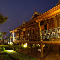 Stilted house by night