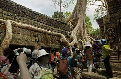 Angkor temple with crowds