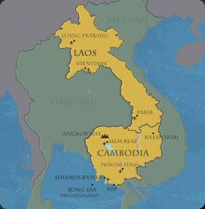 Cambodia, Laos, Vietnam and Thailand map