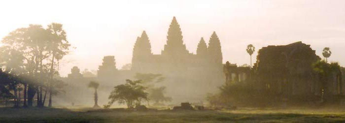 Mysterious Angkor Wat in the early morning hours.
