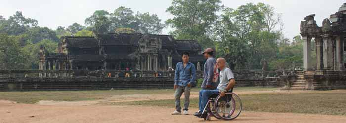 Wheelchair user Anberto Neri at Angor Wat