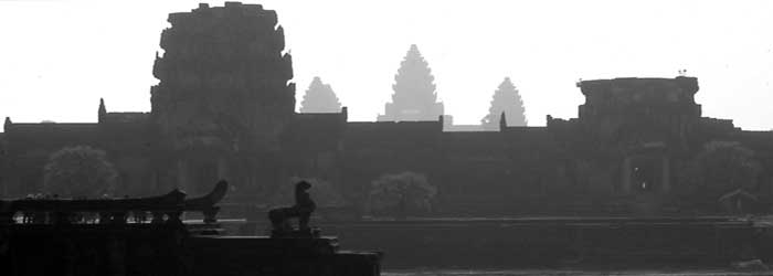 Sunset over Angkor Wat moat, Cambodia