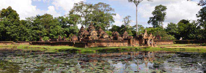 Reflection of Banteay Srei on the pond, Cambodia