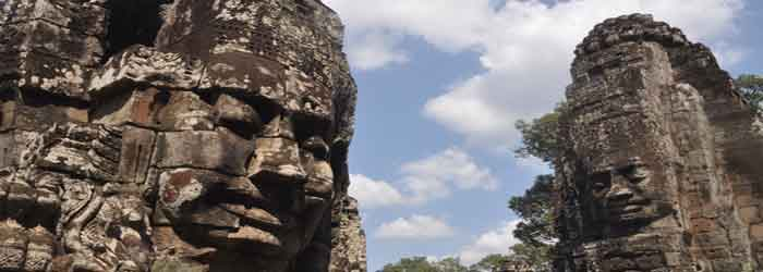 Bayon temple in Cambodia - around 10km from Siem Reap