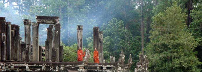 Monks at Bayon Temple, Angkor Thom