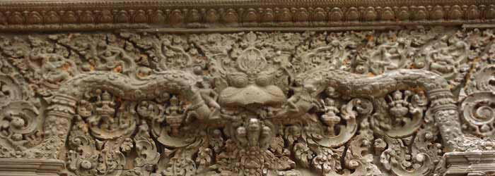 Carving at Lolei Temple in Cambodia - one of the Roluos Group Temples