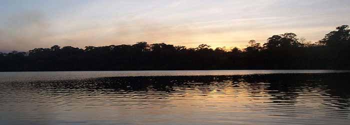 Sunset over the river in Ratanakiri, Cambodia