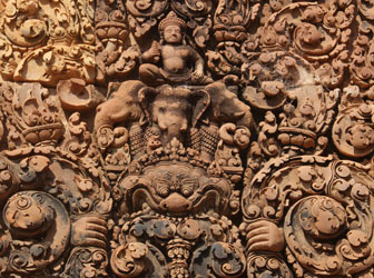 Carving at Banteay Srei. A masterpiece of Khmer art, Cambodia