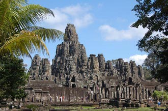 Bayon temple. Travel around 10km from Siem Reap, Cambodia