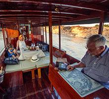 Inside ella boat