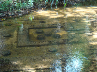 Carvings on the river bed at Kbal Spean, Cambodia