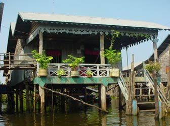 Floating village at Tonle Sap in Cambodia
