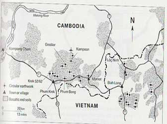 Map of earthworks in Cambodia and Vietnam