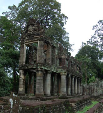 Preah Khan temple. A Buddhist complex in the jungle, Cambodia