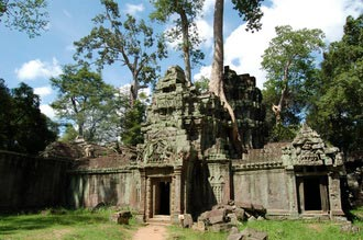 Ta Prohm temple. Travel around 12km from Siem Reap, Cambodia