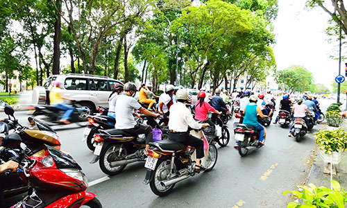 Saigon traffic in day-time