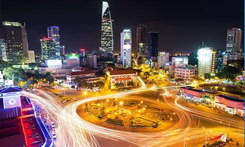 Saigon in night time