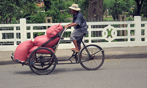 Transporting rice by cyclo