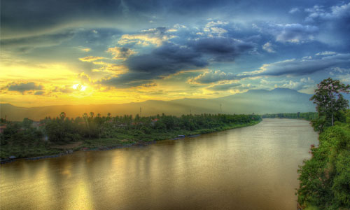 Sunset Over The Sekong River