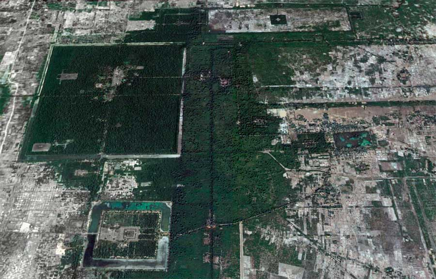 overlaid onto Angkor Temple map