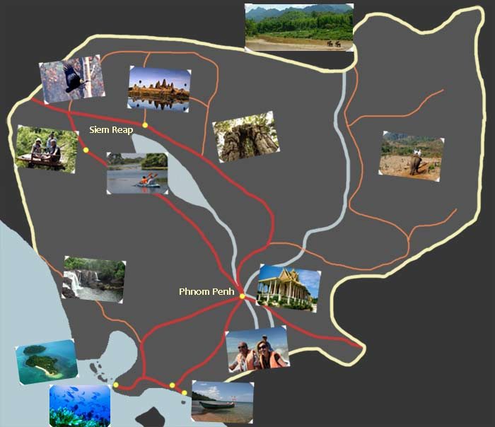 My trip to Asia – Cambodia Tourist Attractions Map