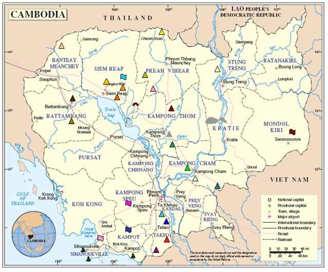 Cambodia Tourist Attractions Map - ABOUTAsia Cambodia Travel Maps