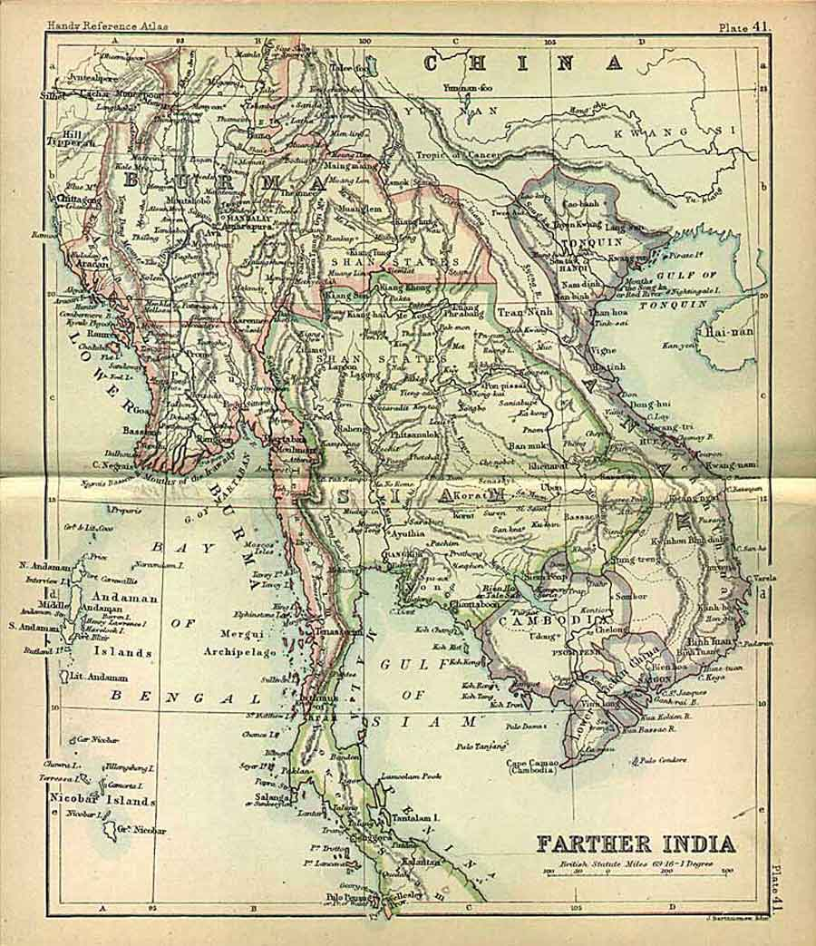 Cambodia Historical Map - 1885