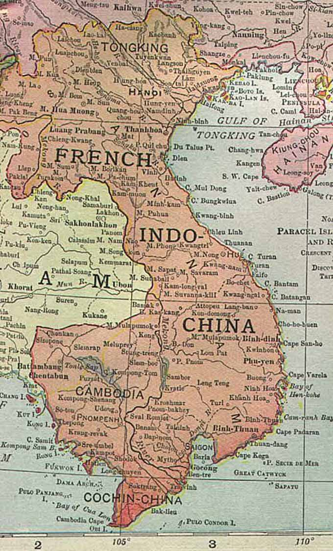 Cambodia Historical Map - 1913
