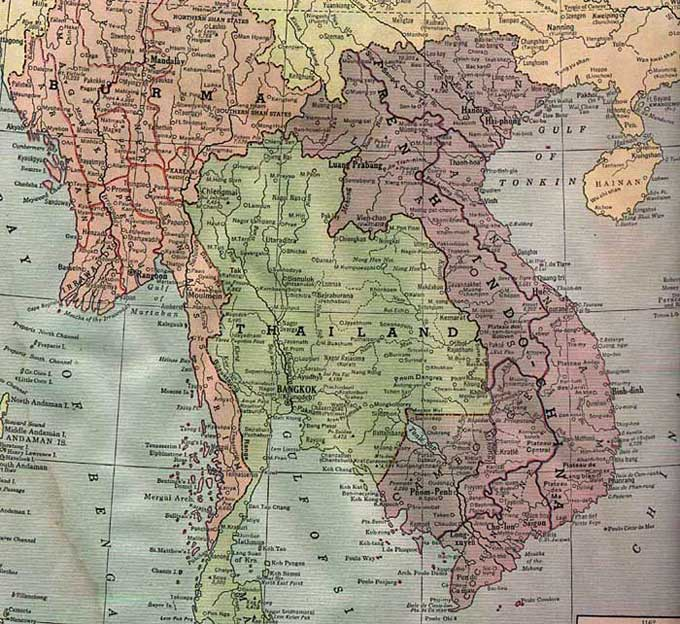 Cambodia Historical Map - 1942