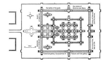 Angkor Wat temple plan. Travel around 8km from Siem Reap, Cambodia