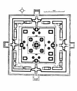 East Mebon temple plan. One of the Twin temples in Angkor, Cambodia