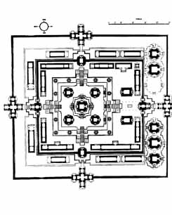 Pre Rup temple plan. One of the Twin temples in Angkor, Cambodia